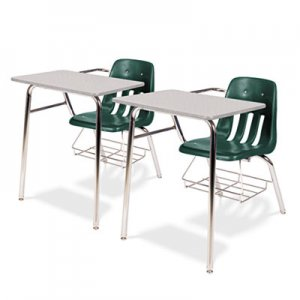 Virco 9400 Series Chair Desk, 21w x 33-1/2d x 30h, Gray Nebula/Forest Green, 2/Carton VIR9400BR75091