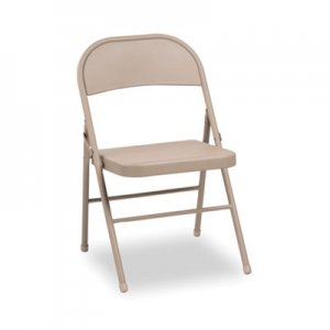 Alera Steel Folding Chair with Two-Brace Support, Tan, 4/Carton ALEFC94T