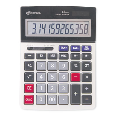 Large Digit Commercial Calculator, 12-Digit LCD, Dual ...