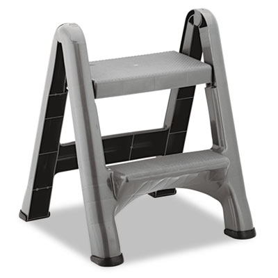 2 Step Folding Plastic Step Stool 300lb Cap Dark Gray