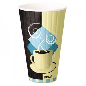 Dart Duo Shield Insulated Paper Hot Cups, 20oz, Tuscan, Chocolate/Blue/Beige, 350/Ct SCCIC20J7534 IC20-J7534