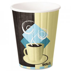 Dart Duo Shield Insulated Paper Hot Cups, 12oz, Tuscan, Chocolate/Blue/Beige, 600/Ct SCCIC12J7534CT IC12-J7534
