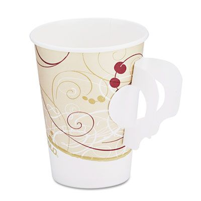 SOLO Hot Cups, With Paper Handle, Symphony Design, 8 oz., Beige H378SMSYM SLOH378SMSYM 378HT-J8000