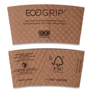 Eco-Products EcoGrip Hot Cup Sleeves - Renewable & Compostable, 1300/CT ECOEG2000 EG-2000