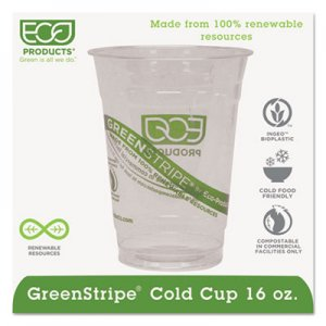 Eco-Products GreenStripe Renewable & Compostable Cold Cups - 16oz., 50/PK, 20 PK/CT ECOEPCC16GS EPCC16GS