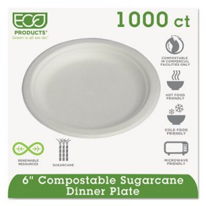 "Eco-Products® Compostable Sugarcane Dinnerware, 6"" Plate, Natural White, 1000/Carton EPP016 ECOEPP016"