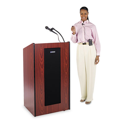 AmpliVox Presidential Plus Wireless Lectern, 25-1/2w x 20-1/2d x 46-1/2h, Mahogany APLSW450MH SW450-MH