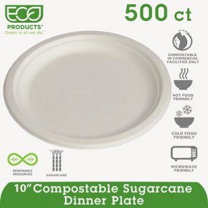 "Eco-Products® Compostable Sugarcane Dinnerware, 10"" Plate, Natural White, 500/Carton EPP005 ECOEPP005 EP-P005"