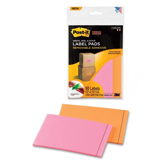 Super Sticky Label Pad 3M 2900-OP 3M Labels & Labeling Systems