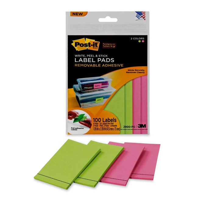 Super Sticky Two Color Label Pad 3M 2900-PG 3M Labels