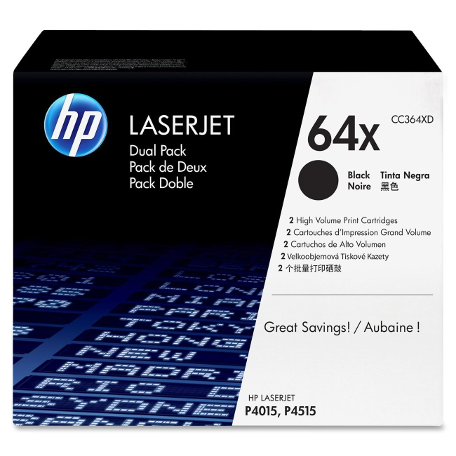 HP (CC3D) 2-pack High Yield Black Original LaserJet Toner Cartridges CC364XD 64X