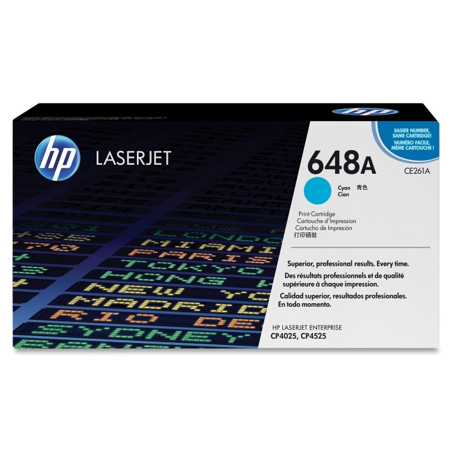 HP Cyan Original LaserJet Toner Cartridge CE261A 648A