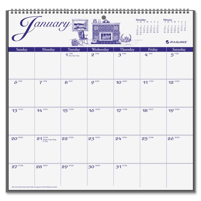 Mead Illustrated Monthly Wall Calendar G1000-17 AAGG100017