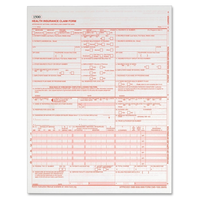 Globe-Weis Health Insurance Claim Form CMS1500L2 ABFCMS1500L2