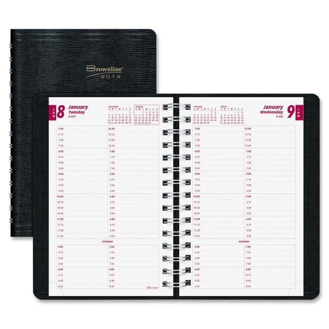 Brownline 12-Month Daily Planner CB800BLK REDCB800BLK