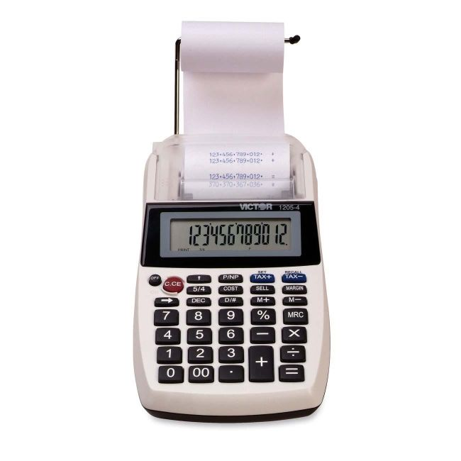Victor Technology Victor Portable Palm/Desktop Printing Calculator 1205-4 VCT12054