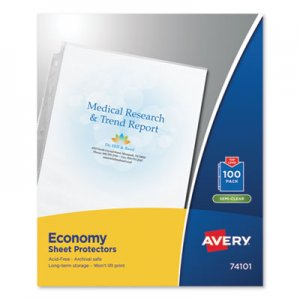 Avery Top-Load Sheet Protector, Economy Gauge, Letter, Semi-Clear, 100/Box AVE74101 74101