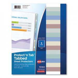 Avery Protect 'n Tab Top-Load Clear Sheet Protectors w/Five Tabs, Letter AVE74160 74160