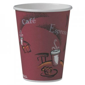 Dart Bistro Design Hot Drink Cups, Paper, 12oz, Maroon, 50/Pack SCC412SINPK 412SIN-0041