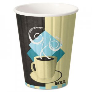 Dart Duo Shield Hot Insulated 12oz Paper Cups, Tuscan, Chocolate/Blue/Beige, 40/Pk SCCIC12J7534PK IC12-J7534