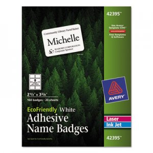 Avery EcoFriendly Adhesive Name Badge Labels, 2 1/3 x 3 3/8, White, 160/Box AVE42395 42395