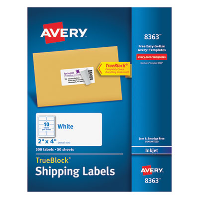 Avery Shipping Labels with TrueBlock Technology, Inkjet, 2 x 4, White, 500/Box AVE8363 8363