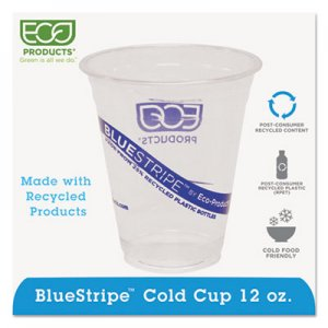Eco-Products BlueStripe 25% Recycled Content Cold Cups, 12 oz, Clear/Blue, 50/Pk, 20 Pk/Ct ECOEPCR12 EP-CR12