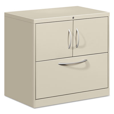 HON Flagship File Center w/Storage Cabinet & Lateral File, 30 x 18 x 28, Light Gray HONFC1830DLFALQ FC1830DLFALQ