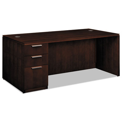 HON Arrive Single Pedestal Veneer Desk, Left, 72w x 36d x 29-1/2h, Shaker Cherry HONVW076LC1Z9FF VW076LC1Z9FF