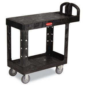 Rubbermaid Commercial Flat Shelf Utility Cart, Two-Shelf, 19-3/16w x 37-7/8d x 33-1/3h, Black