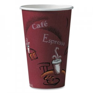Dart Bistro Design Hot Drink Cups, Paper, 16oz, Maroon, 50/Pack SCC316SIPK 316SI-0041