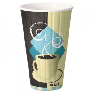 Dart Duo Shield Insulated Paper Hot Cups, 16oz, Tuscan, Chocolate/Blue/Beige, 35/Pk SCCIC16J7534PK IC16-J7534