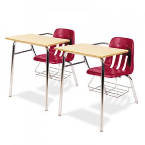 Virco 9400 Series Chair Desk, 21w x 33-1/2d x 30h, Fusion Maple/Red, 2/Carton VIR9400BR70385
