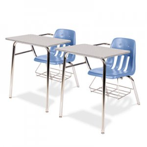 Virco 9400 Series Chair Desk, 21w x 33-1/2d x 30h, Gray Nebula/Blueberry, 2/Carton VIR9400BR40091