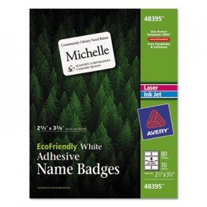 Avery EcoFriendly Adhesive Name Badge Labels, 2 1/3 x 3 3/8, White, 80/Pack AVE48395 48395