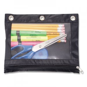 Advantus Binder Pencil Pouch, 10 x 7 3/8, Black/Clear AVT67024 AVT-67024