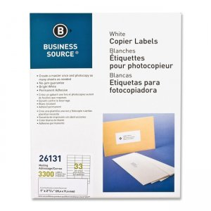 White Copier Mailing Label Business Source 26131 Business Source Labels and Laminates