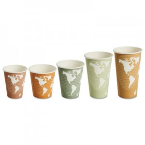 Eco-Products World Art Renewable/Compostable Hot Cups, 8 oz, Plum, 50/Pack ECOEPBHC8WAPK EP-BHC8-WAPK