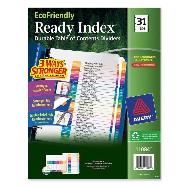 Printer for Avery ready index template 31 tab