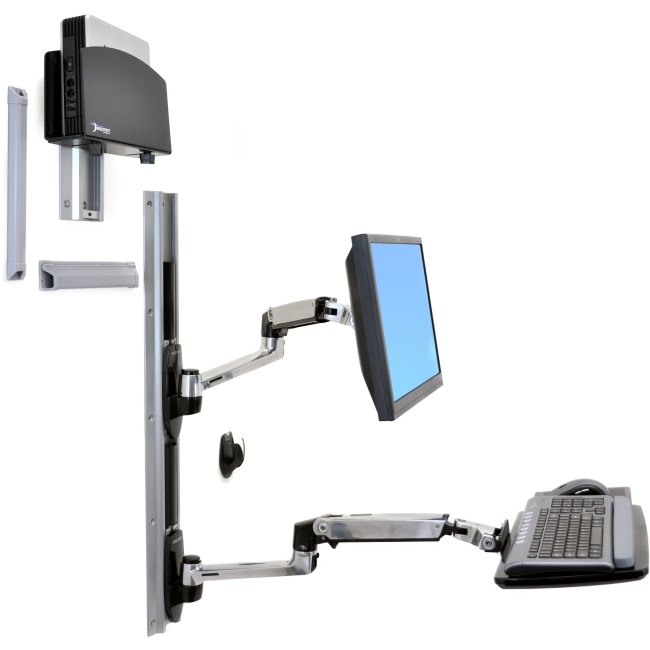 Ergotron LX Wall Mount System with Small CPU Holder 45-253-026