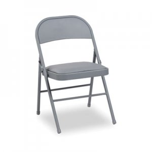 Alera Steel Folding Chair with Two-Brace Support, Padded Seat, Light Gray, 4/Carton ALEFC94VY40LG