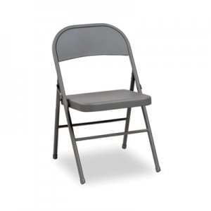 Alera Steel Folding Chair with Two-Brace Support, Light Gray, 4/Carton ALEFC94LG