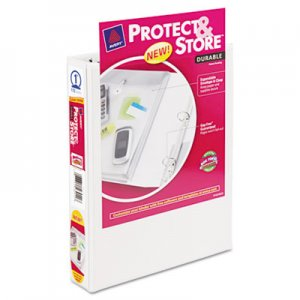 "Avery Mini Protect & Store View Binder w/Round Rings, 8 1/2 x 5 1/2, 1"" Cap, White AVE23011"