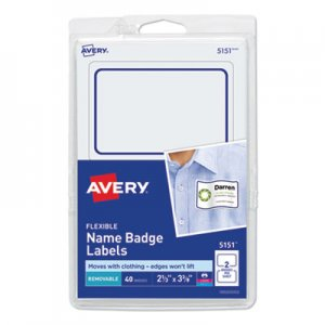 Avery Flexible Self-Adhesive Laser/Inkjet Badge Labels, 2 1/3 x 3 3/8, BE, 40/PK AVE5151 5151