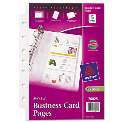 Avery Business Card Binder Pages, 2 x 3 1/2, 8 Cards/Sheet, 5 Pages/Pack 76025 AVE76025