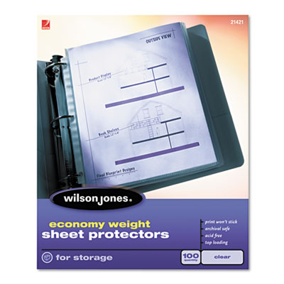 Wilson Jones Economy Weight Top-Loading Sheet Protectors, Letter, 100/Box WLJ21421 21421