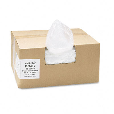 Classic Clear Clear Low-Density Can Liners, 30 gal, .6 mil, 30 x 36, Clear, 250/Carton BC-37 WBIBC37