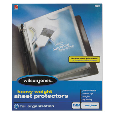 Wilson Jones Heavyweight Top-Loading Sheet Protectors, Nonglare Finish, Letter, 100/Box WLJ21413 21413