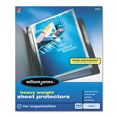 Wilson Jones Heavyweight Top-Loading Sheet Protectors, Letter, 100/Box WLJ21411 21411