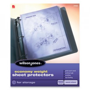 Wilson Jones Economy Weight Top-Loading Sheet Protectors, Semi-Clear Finish, Letter, 100/Box WLJ21423 21423